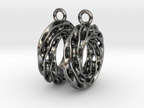 Twisted Scherk Linked 3,4 Torus Knots Earrings in Fine Detail Polished Silver