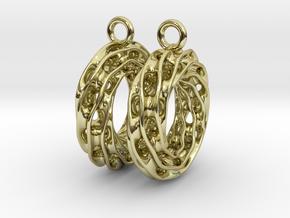 Twisted Scherk Linked 3,4 Torus Knots Earrings in 18k Gold