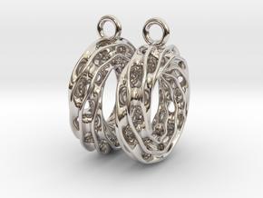 Twisted Scherk Linked 3,4 Torus Knots Earrings in Platinum