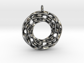 Twisted Scherk Linked 3,4 Torus Knots Pendant in Fine Detail Polished Silver
