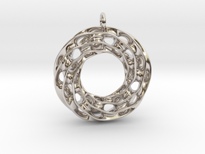 Twisted Scherk Linked 3,4 Torus Knots Pendant in Rhodium Plated Brass