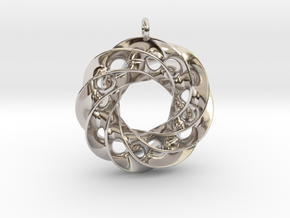 Twisted Scherk Linked 4,3 Torus Knots Pendant in Rhodium Plated Brass