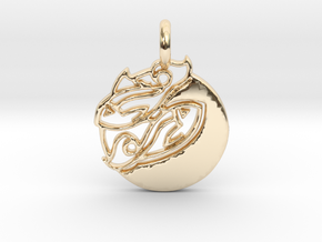 Astrology Zodiac Pisces Sign in 14k Gold Plated Brass