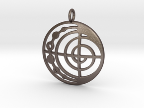 Abstract Pendant in Polished Bronzed Silver Steel