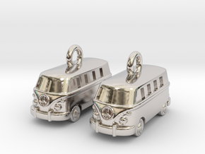 VW Van Earrings in Rhodium Plated Brass