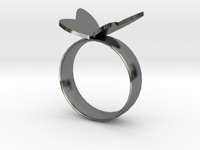 Butterfly RIng in Fine Detail Polished Silver