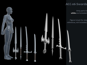 ACC-06-Swords 7inch MOTU v2.1 in White Processed Versatile Plastic