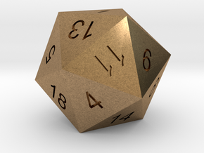 Classic d20 in Natural Brass