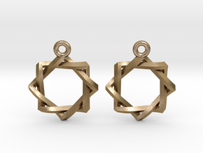 Penrose Melchizedek Symbol Earrings in Polished Gold Steel