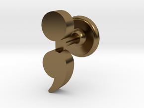 Semicolon Cuff Links in Polished Bronze