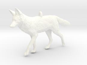 Coyote Ornament in White Processed Versatile Plastic
