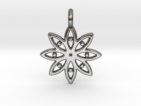 A Flower C Earring in Fine Detail Polished Silver