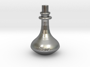 Mana Potion flask - pendant in Natural Silver