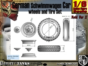 1-6 Schwimmwagen Tire Set in White Natural Versatile Plastic