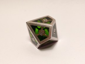 D10 Decader Epoxy Dice in Polished Bronzed Silver Steel