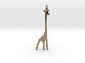 A Giraffe Earring in Natural Brass