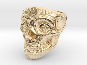 Skull Ring  in 14k Gold Plated Brass
