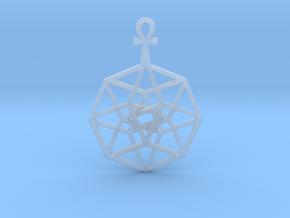 "TesserAnkh Pendant 1.5"" in Smooth Fine Detail Plastic"
