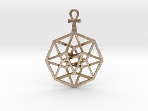"TesserAnkh Pendant 1.5"" in Polished Gold Steel"
