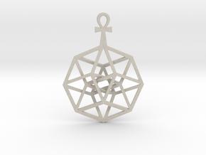 "TesserAnkh Pendant 1.5"" in Natural Sandstone"