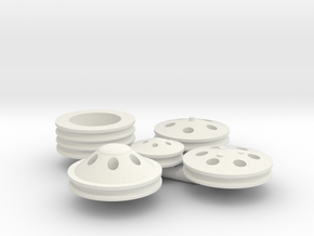 Billet Pulleys 1/12 scale in White Strong & Flexible