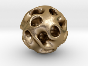 0605 IsoSurface F(x,y,z)=0 Gyroid Ball (d=5cm) #2 in Polished Gold Steel