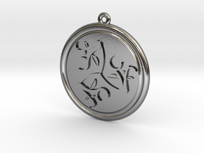 Moons and Leaves Pendant in Polished Silver