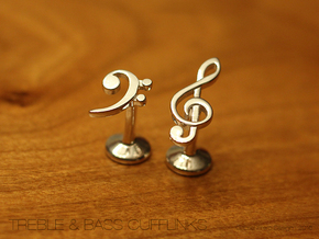 Treble and Bass Clef Cufflinks in Polished Silver