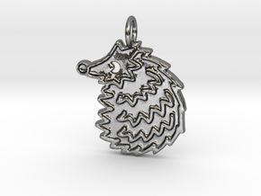 Hedgehog pendant spikey in Polished Silver