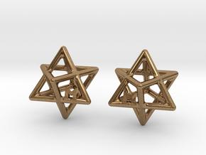 MILOSAURUS Tetrahedral 3D Star of David Earrings in Natural Brass