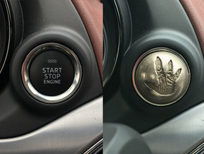 MAZDA Engine Button | Total Recall Reactor   in Polished Bronzed Silver Steel
