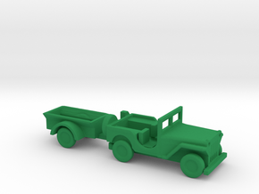 1/144 Scle MB Jeep With Trailer in Green Strong & Flexible Polished