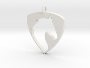 Horse Head V2 Pendant in White Natural Versatile Plastic