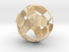 0411 Spherical Truncated Octahedron (d=6cm) #003 in 14k Gold Plated Brass
