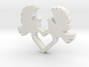 Doves with Heart V1 Pendant - Amour Collection in White Natural Versatile Plastic