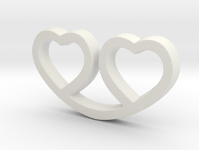 Two Hearts Together Pendant - Amour Collection in White Natural Versatile Plastic