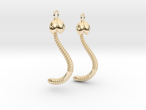 """Life of a worm"" Part 4 - ""Baby worm"" earrings in 14K Yellow Gold"