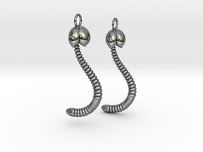 """Life of a worm"" Part 4 - ""Baby worm"" earrings in Fine Detail Polished Silver"