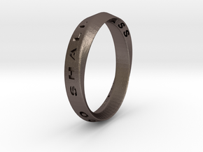 This Too Shall Pass Ring mobius ring v1 in Polished Bronzed-Silver Steel: 7.75 / 55.875