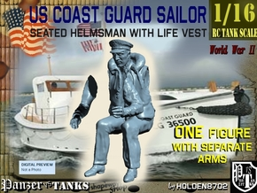 1-16 USCG Seated HELMSMAN 3 in White Natural Versatile Plastic