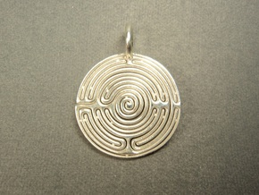 Small Labyrinth in Raw Silver