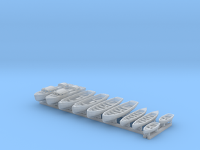 1/500 WW2 RN Boat Set 1 with Mounts in Smooth Fine Detail Plastic