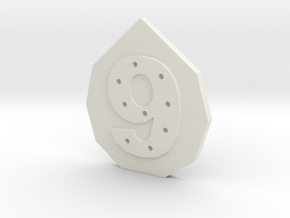 9-hole, Number 9, 9 Sided Button in White Natural Versatile Plastic