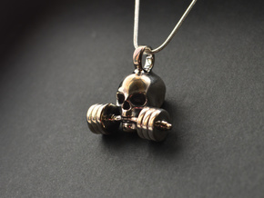 Pendant V14 - The invincible Skull in Rhodium Plated Brass