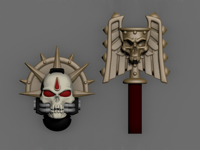 Skull Helm And Hammer W/ Blood Drop in Frosted Extreme Detail