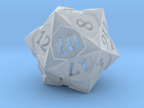 'Starry' D20 Gaming die LARGE in Smooth Fine Detail Plastic