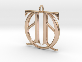 Monogram Initials AAU Pendant in 14k Rose Gold
