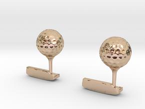 Golf Cufflinks in 14k Rose Gold Plated Brass