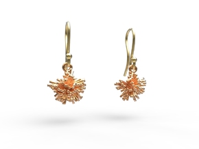 Peony Earrings in Polished Brass
