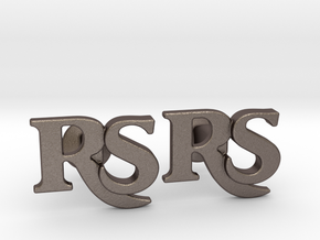 Monogram Cufflinks RS in Polished Bronzed Silver Steel